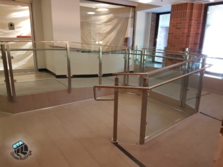 stainless steel railing on accessibility ramp