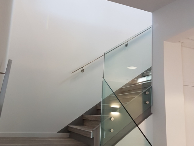 Stairs glass railing