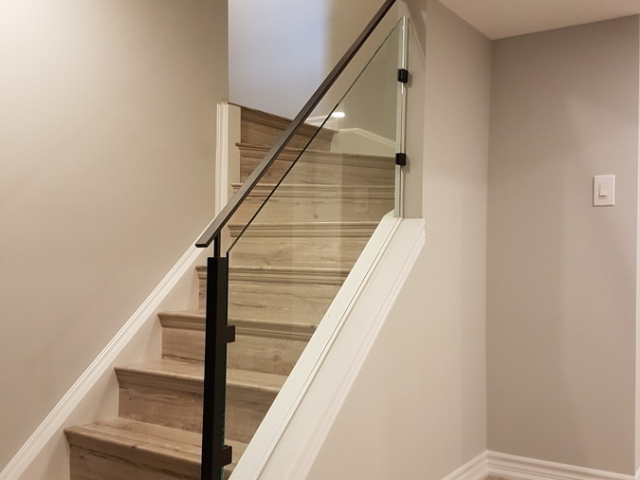 glass railing basement staircase