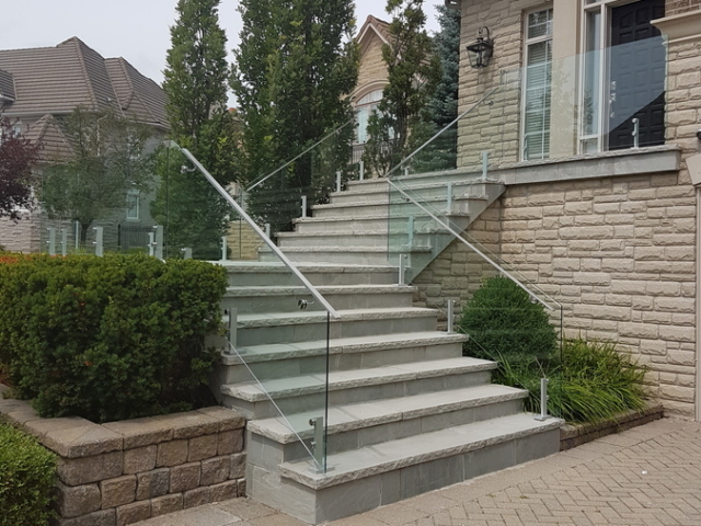 glass railings with mini posts