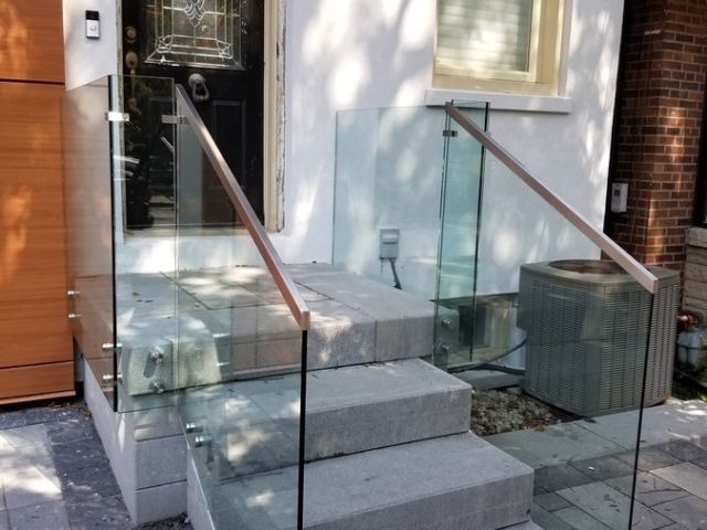 frameless glass railing front porch