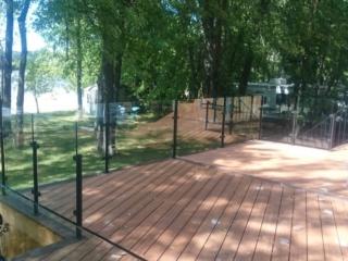 deck glass railing lakefront cottage