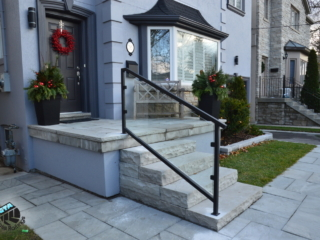 outdoor stairs glass railing