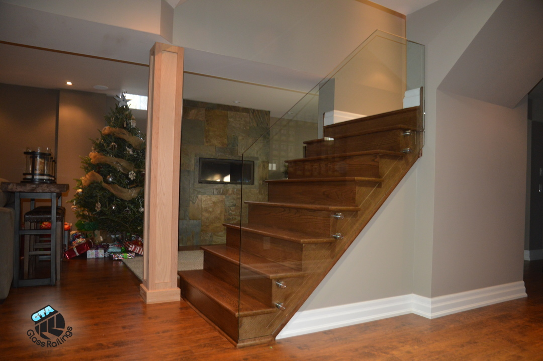 frameless glass railing in basement