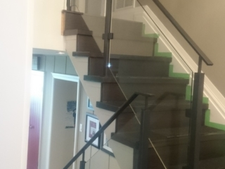 black interior glass railing