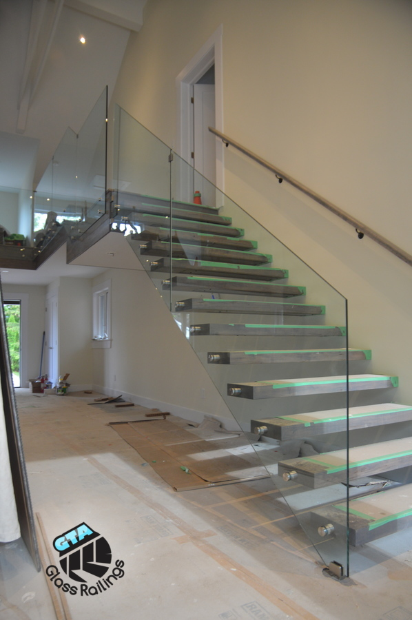 glass railings floating stairs