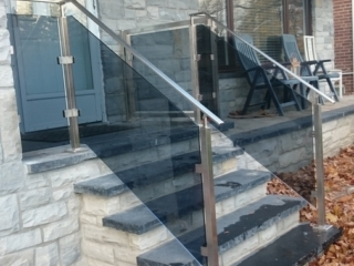 stainless steel glass railing with tinted glass