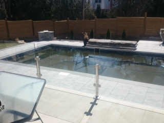 topless glass railing for pool